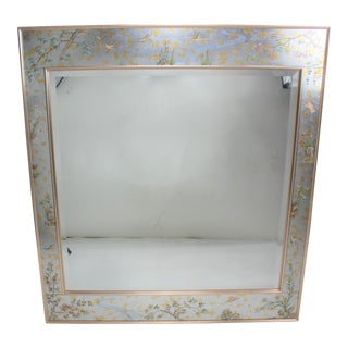 Labarge Reverse Glass Painted With Rose Gold Trim Mirror With Botanical Inset For Sale