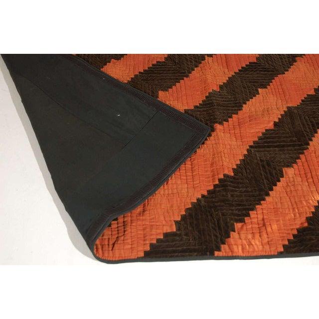 Fantastic 19thc Wool & Velvet Log Cabin Quilt - Image 4 of 7
