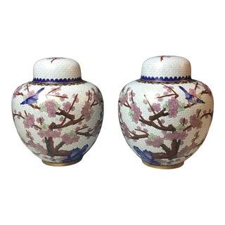 Pair of White Floral Cloisonné Ginger Jar-A Pair For Sale