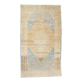 """1940s Vintage Samarkand Gold Blue Hand-Knotted Rug - 7'3"""" X 12'7"""" For Sale"""