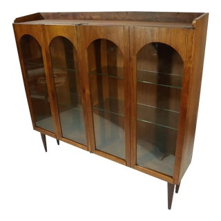 Mid-Century Modern Walnut China Cabinet With Arched Facade For Sale