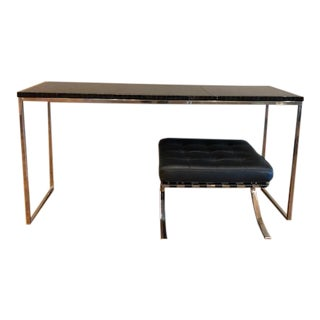 Leather/Horn-Edged Console Table For Sale