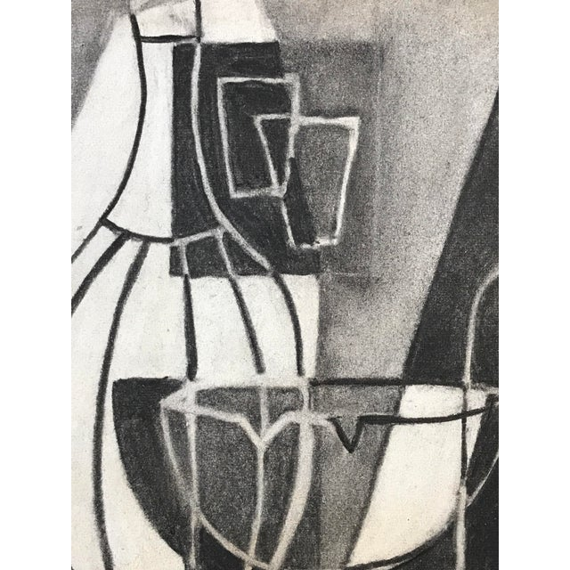 Boho Chic 1930s Cubist Greyscale Still Life Student Drawing For Sale - Image 3 of 8