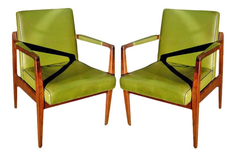 Pair Of Mid Century Leather And Solid Mahogany Armchairs For Sale