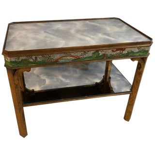 Hollywood Regency Coffee Table With Poly-Chromed Mirrored Scenes in Chinoiserie For Sale