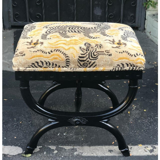 Clarence House Vintage Designer French X Bench W Clarence House Tibetan Tiger Cushion For Sale - Image 4 of 4