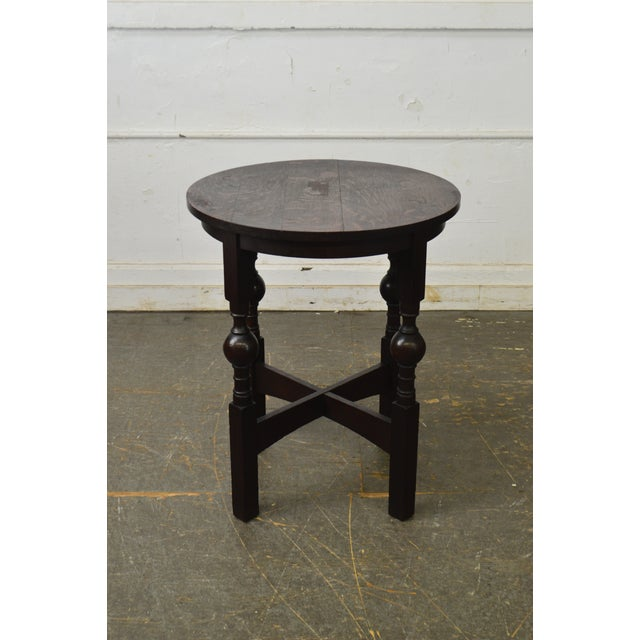 Brown Arts & Crafts Style Antique Round Oak Drinks Table Stickley Era For Sale - Image 8 of 13