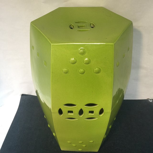 Asian Asian Style Chartreuse Garden Stool For Sale - Image 3 of 10
