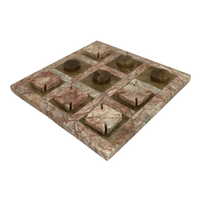 Pink Stone Tic Tac Toe Game Board For Sale