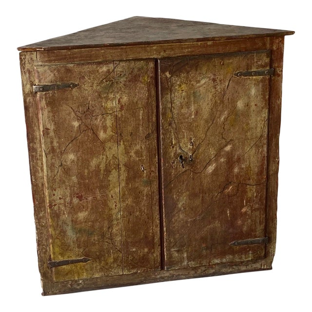 19th Century Painted Corner Cabinet For Sale