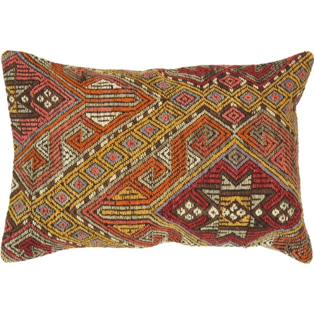 Orange Pasargad Decorative Vintage Kilim Pillow - Image 1 of 2