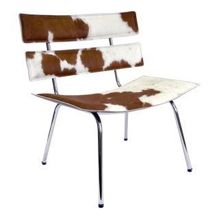 Modern Kehl Brazilian Cowhide Hair on Hide Leather Lounge Chair