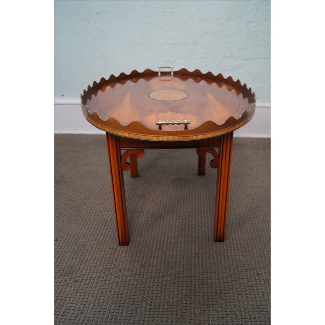 English Yew Wood Inlaid Tray Top Coffee Table - Image 5 of 10