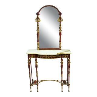 Neoclassical Bronze and Onyx Top Red Console Hall Table With Figural Mirror For Sale