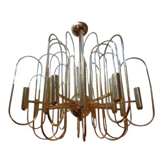 Large Vintage Gaetano Sciolari Brass and Glass Chandelier For Sale