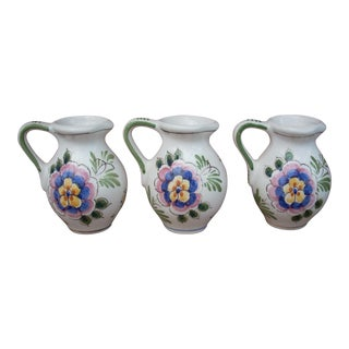 Delft Folk Art Style Pitchers - Set of 3 For Sale