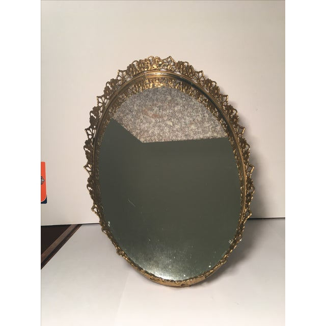 Floral Gilded Mirrored Vanity Tray - Image 3 of 6