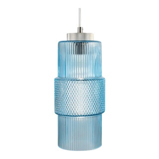 Laguna Knurled Detailing, Brushed Nickel and Silver Silk Cable Aqua Pendant Light For Sale