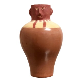 Peruvian Pottery Face Vase For Sale