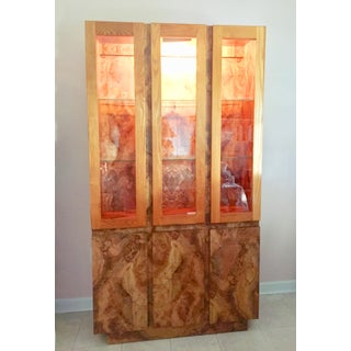 Vintage Burl Wood China Cabinet With Light Preview