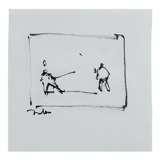 Contemporary Minimalist Figurative Ink Drawing of Fencers by Jose Trujillo For Sale