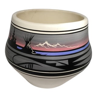 Signed Native American Style Flower Pot