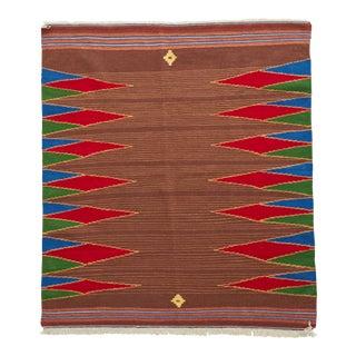 Handmade Kamo Kilim Tribal Nomadic Wool Rug - 4′ × 5′ For Sale