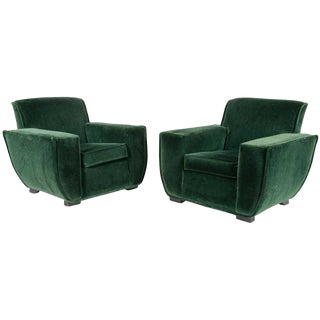 1940s Pair French Art Deco Lounge Chairs