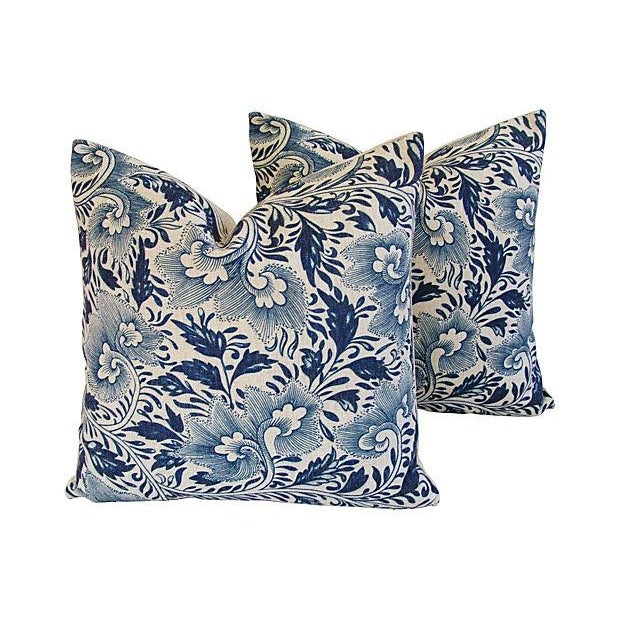 Blue Floral Linen Down/Feather Pillows - A Pair - Image 7 of 7