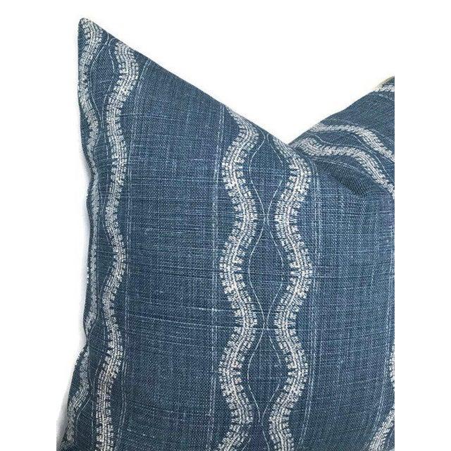 Modern Zanzibar Indigo Blue Linen Pillow Cover For Sale - Image 3 of 5