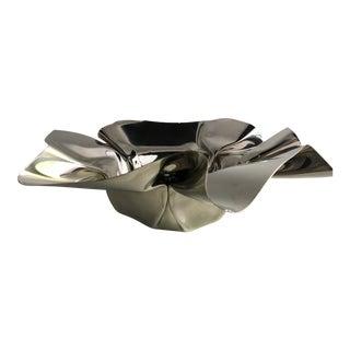 1990s Polished Aluminum Handkerchief Bowl For Sale