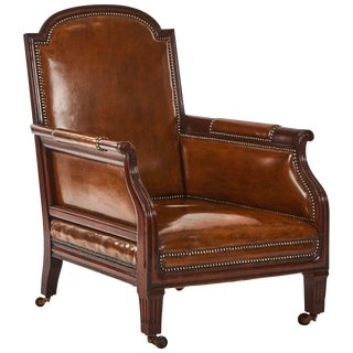 1880s English Leather and Studded Armchair on Castors For Sale