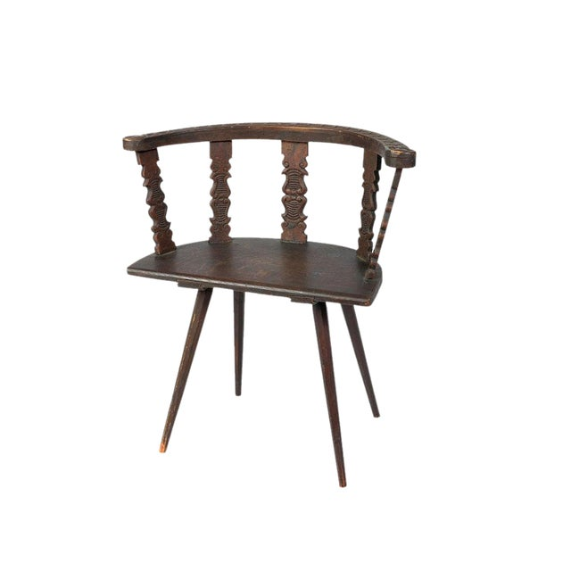 Late 19th. C English Carved Tiger Oak Corner or Side Chair For Sale