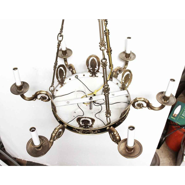 Empire Style 6 Arm Brass Chandelier With Black Finish - From the Waldorf Astoria For Sale - Image 9 of 12