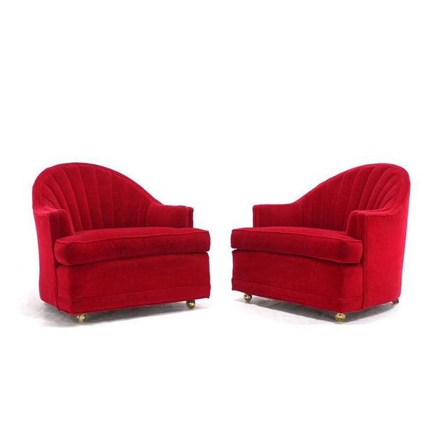 Pair of striking looking red upholstery lounge chairs by Kroehler.