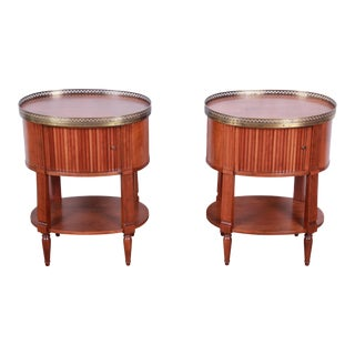 Baker Furniture French Regency Cherry and Brass Tambour Door Nightstands, Pair For Sale