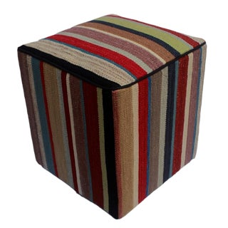 Arshs Donna Red/Brown Kilim Upholstered Handmade Ottoman For Sale