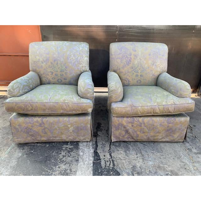 Italian Fortuny Swivel Chairs - a Pair For Sale - Image 10 of 10