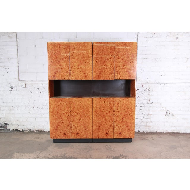 Leon Rosen for Pace Collection Burl Wood Lighted Bar Cabinet or Wall Unit For Sale - Image 13 of 13