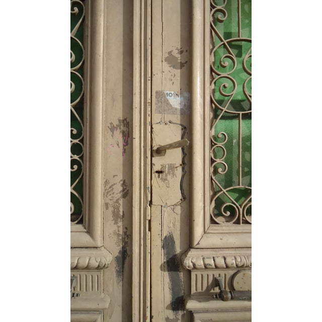 Beige Antique Ornate South American Doors - A Pair For Sale - Image 8 of 11