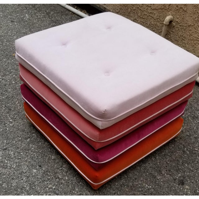 Custom made velvet pink ombre multi color ottoman with wheels. Perfect for a contemporary home.