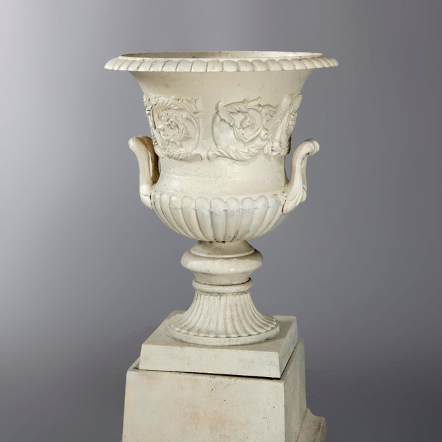 Metal Antique French Neoclassical 2-Piece Cast Iron Garden Urn, 20th Century For Sale - Image 7 of 10
