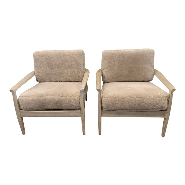 Mid-Century Inspired Shearling Lounge Chairs - a Pair For Sale