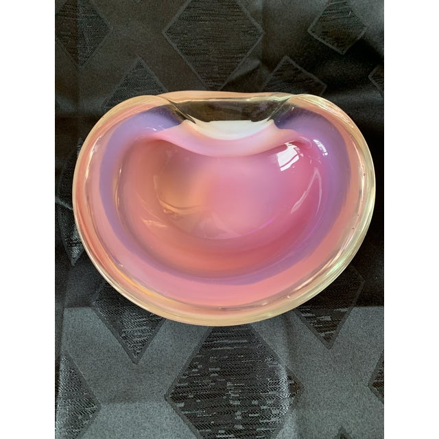 Art Glass Seguso Italian Pink and Opaline Cased Heavy Art Glass Bowl For Sale - Image 7 of 13