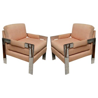 Pair of Milo Baughman Polished Chrome Armchairs for Directional For Sale