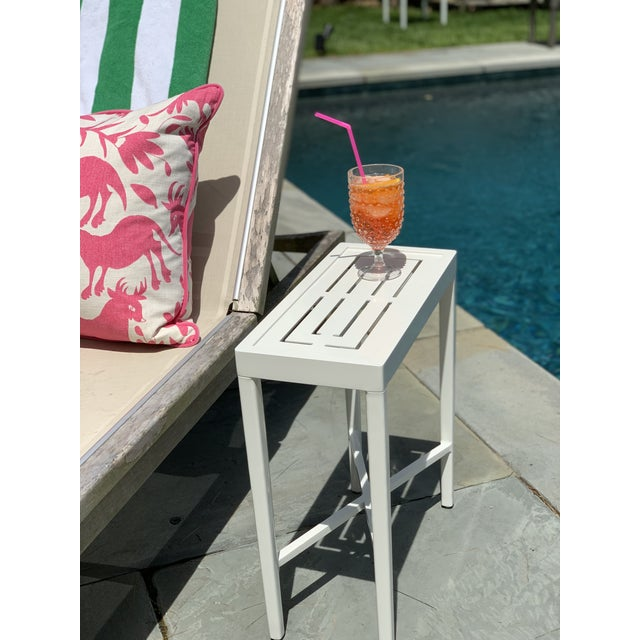American Oomph On the Rocks Rectangle Outdoor Side Table, Green For Sale - Image 3 of 7