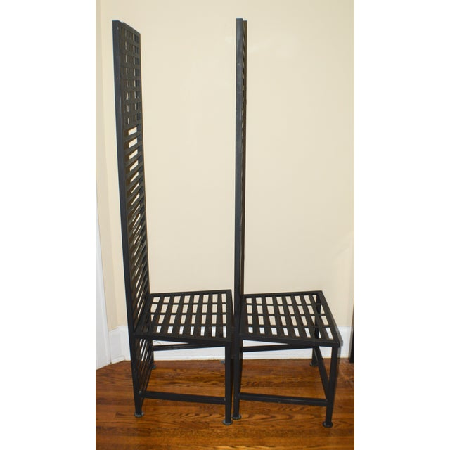 Brutalist 1990s Vintage Brutalist Metal Chairs- A Pair For Sale - Image 3 of 7