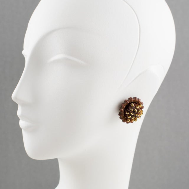 French Francoise Montague Paris Clip on Earrings Brown Resin Talosel Brass Studs For Sale - Image 3 of 6