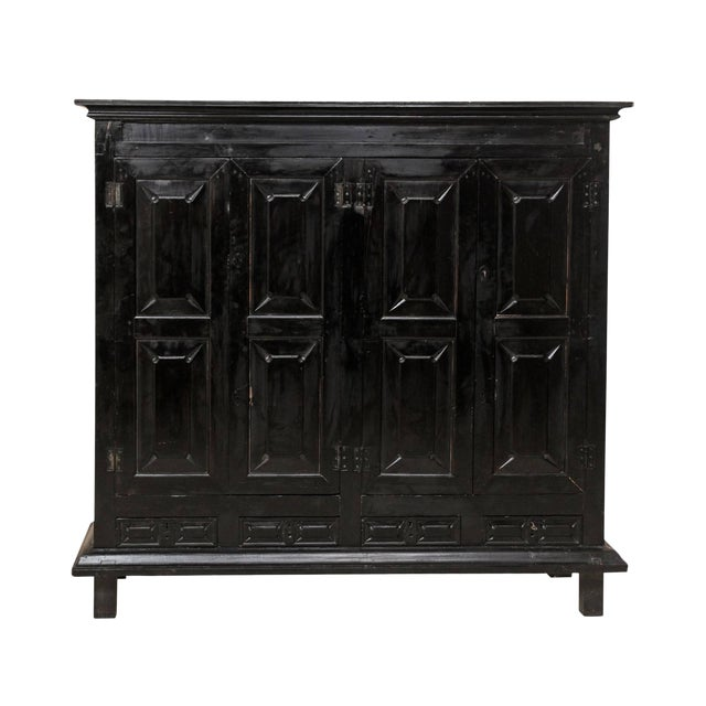 Large British Colonial Cabinet From the Mid-20th Century of Dark Ebonized Wood For Sale