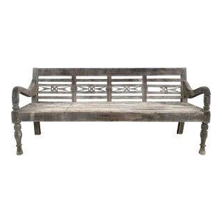 1900s Antique Rustic Colonial Teak Wood Craved Long Bench For Sale